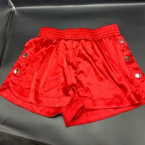 Red snap shorts